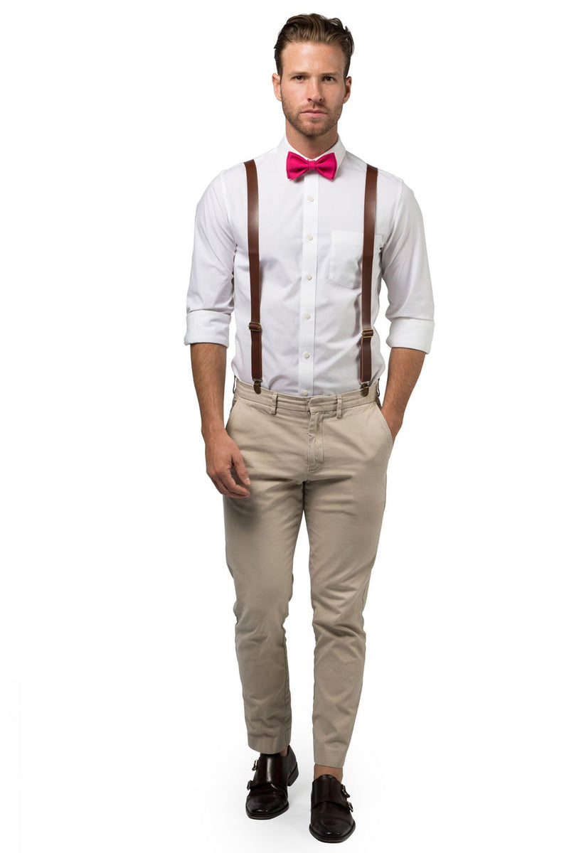 Brown Leather Suspenders & Hot Pink Bow Tie