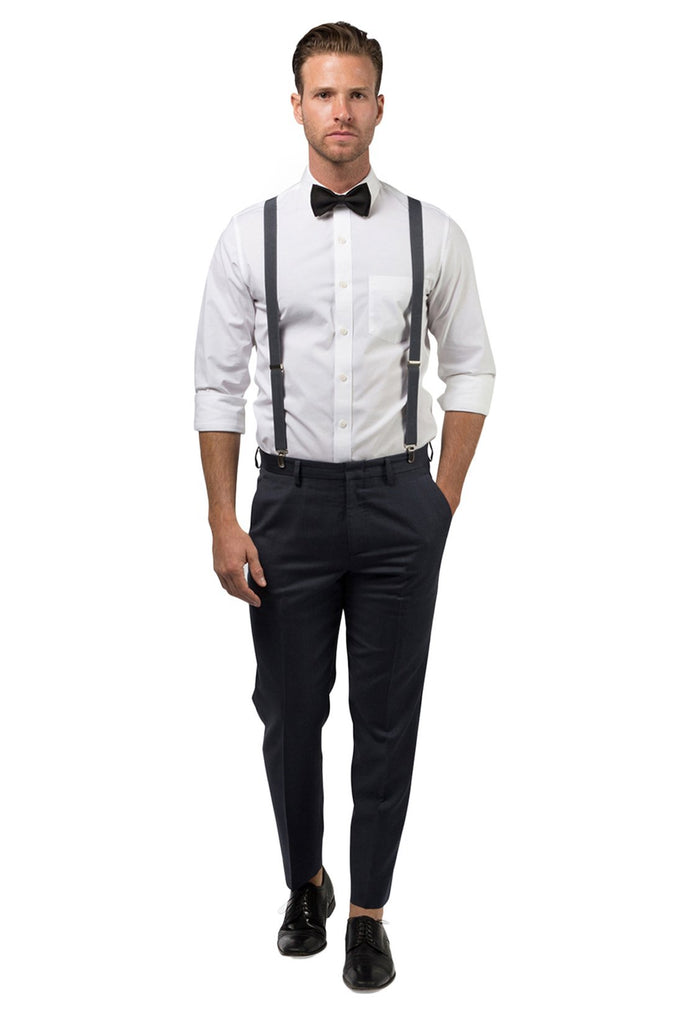 Charcoal Suspenders & Black Bow Tie