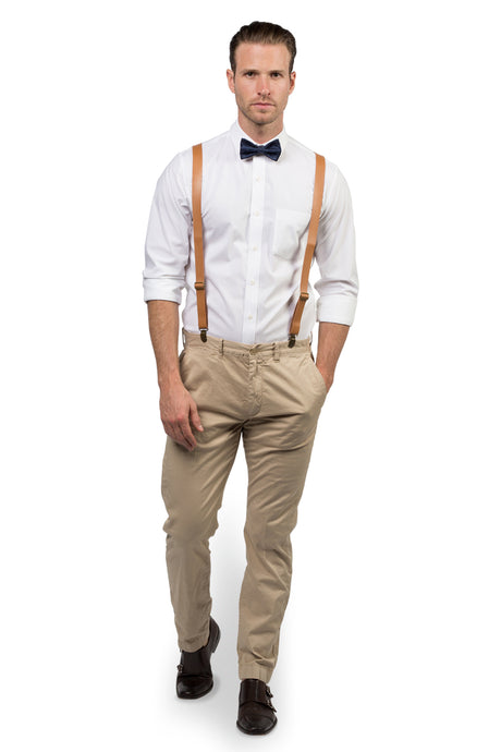 Tan Leather Suspenders & Navy Polka Dot Bow Tie
