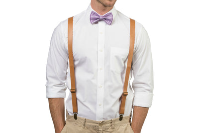 Tan Leather Suspenders & Gingham Purple Bow Tie