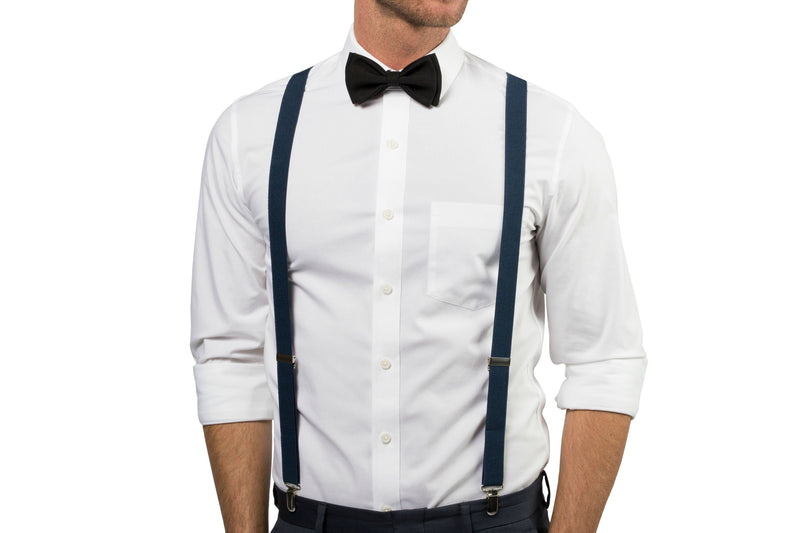 Navy Suspenders & Black Bow Tie