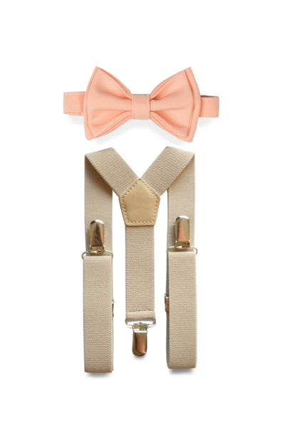 Beige Suspenders & Peach Bow Tie for Kids
