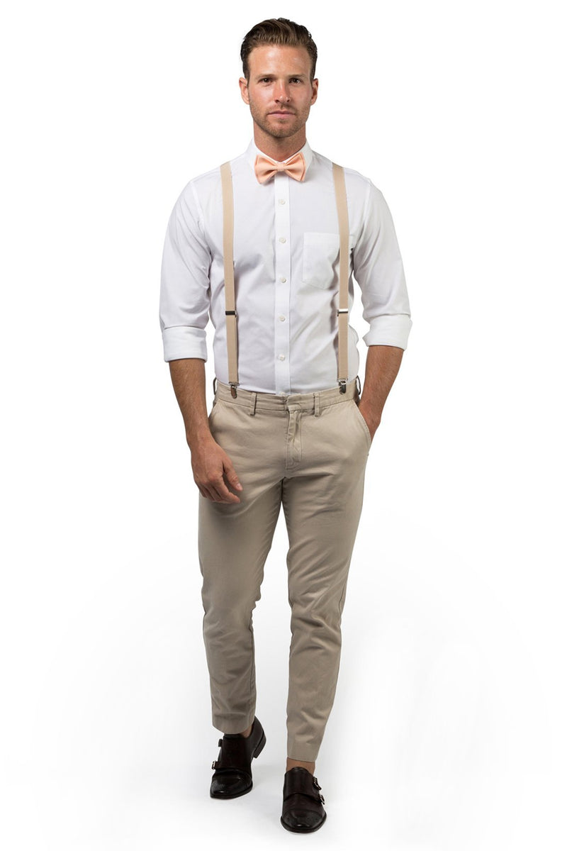 Beige Suspenders & Peach Bow Tie
