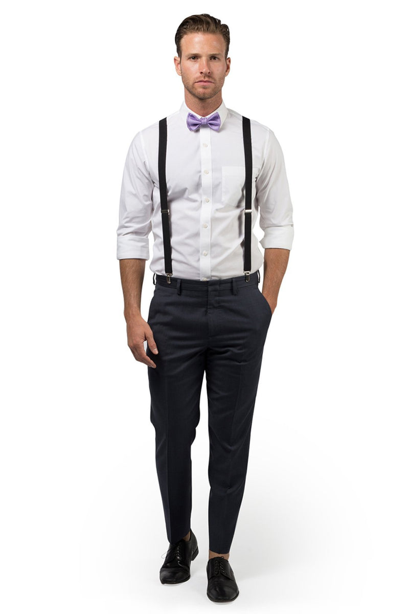 Black Suspenders & Purple Bow Tie