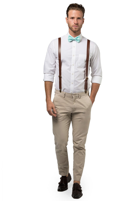 Brown Leather Suspenders & Aqua Bow Tie