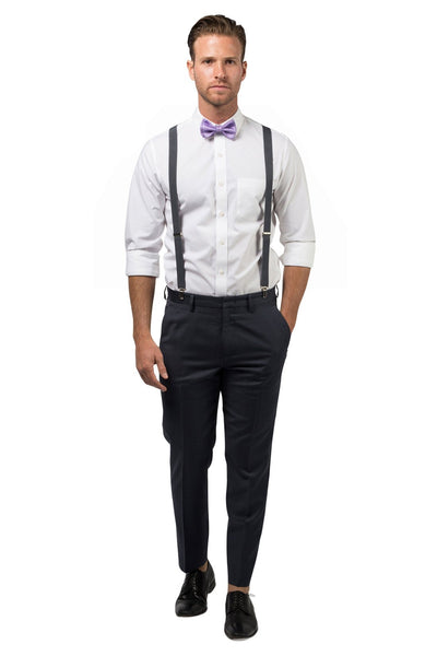 Charcoal Suspenders & Purple Bow Tie