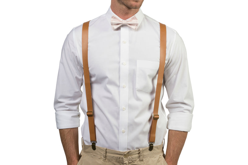 Tan Leather Suspenders & Petal Bow Tie