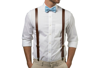 Brown Leather Suspenders & Baby Blue Bow Tie