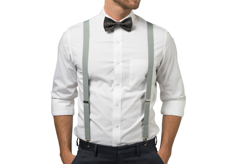 Light Gray Suspenders & Black Polka Dot Bow Tie