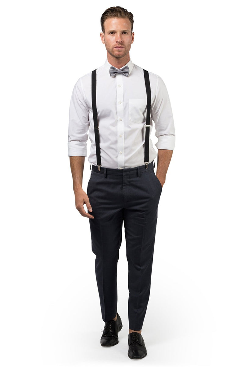 Black Suspenders & Silver Polka Dot Bow Tie