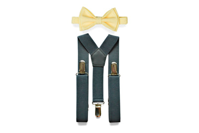 Charcoal Gray Suspenders & Yellow Bow Tie
