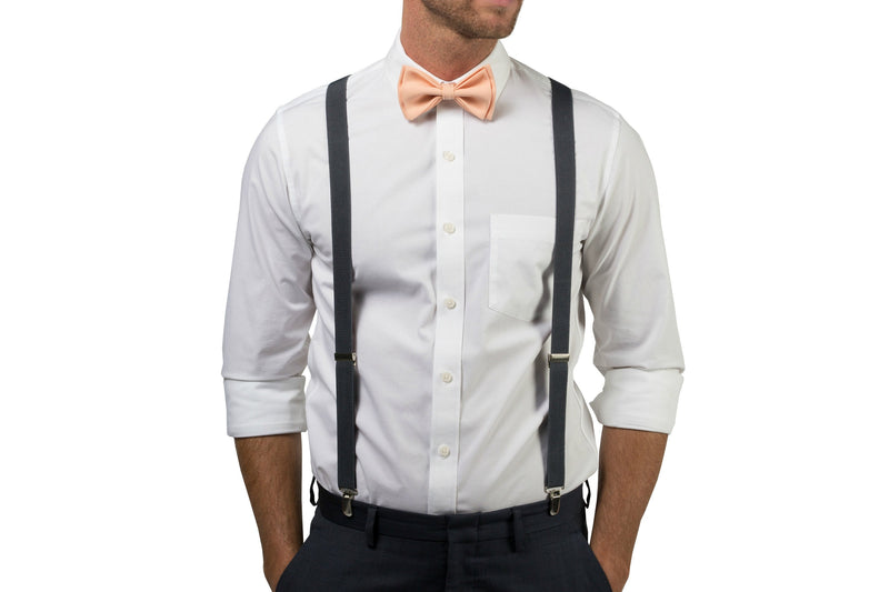 Charcoal Suspenders & Peach Bow Tie