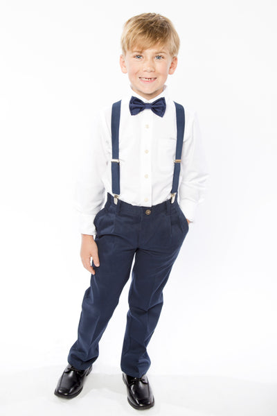 Navy Suspenders & Navy Bow Tie for Boys
