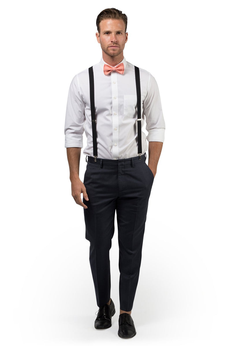 Black Suspenders & Peach Coral Bow Tie