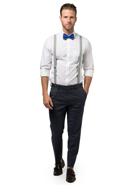 Light Gray Suspenders & Royal Blue Bow Tie