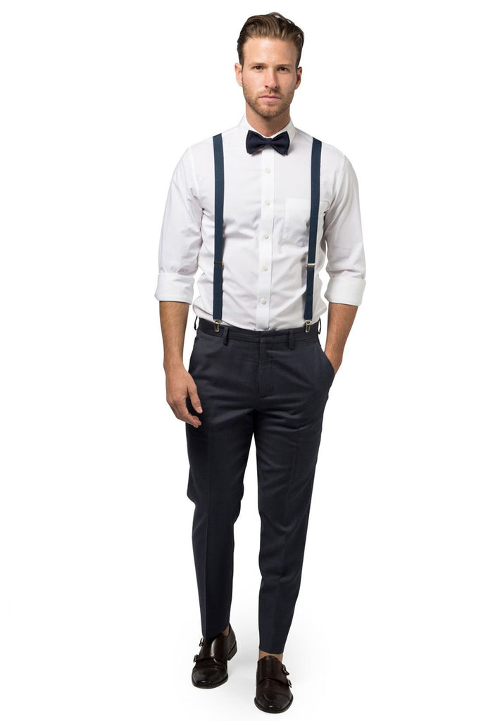 Navy Suspenders & Navy Bow Tie