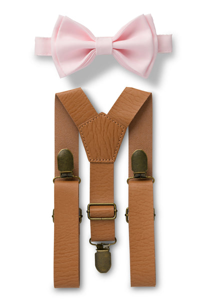 Tan Leather Suspenders & Blushing Pink Bow Tie