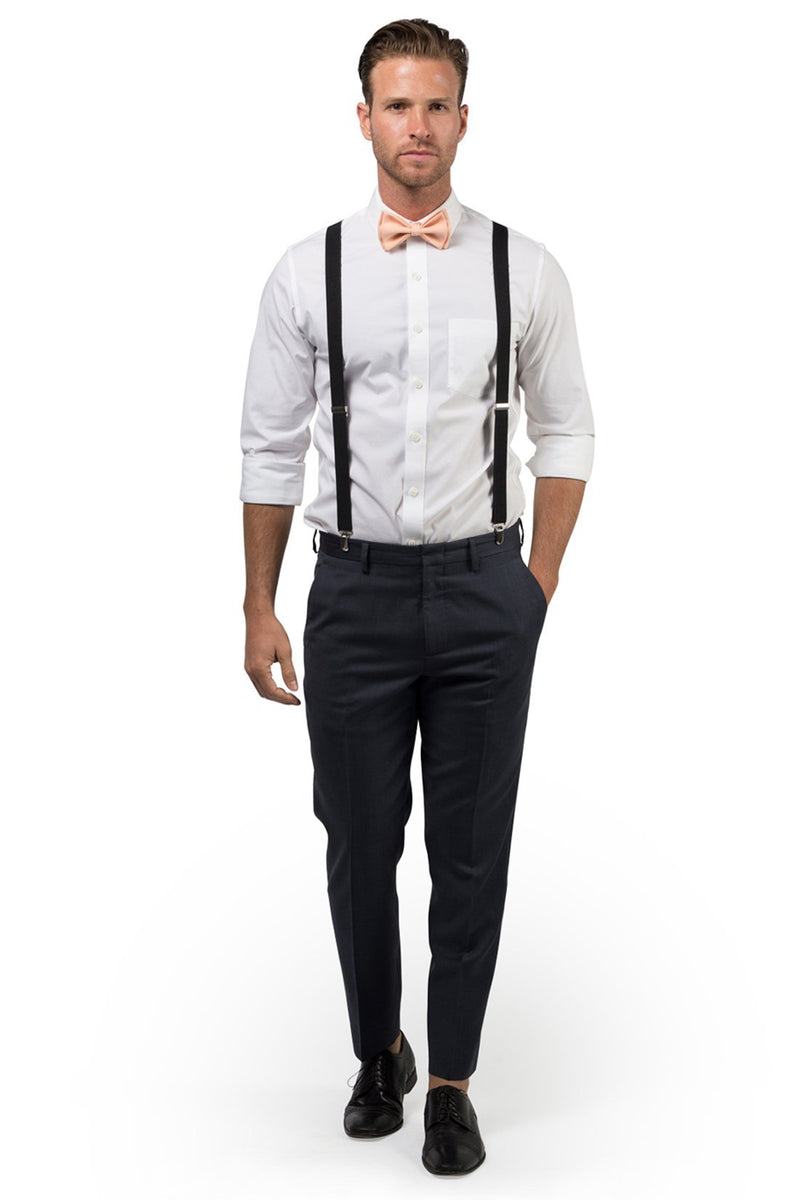 Black Suspenders & Peach Bow Tie