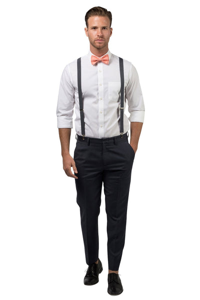 Charcoal Suspenders & Peach Coral Bow Tie