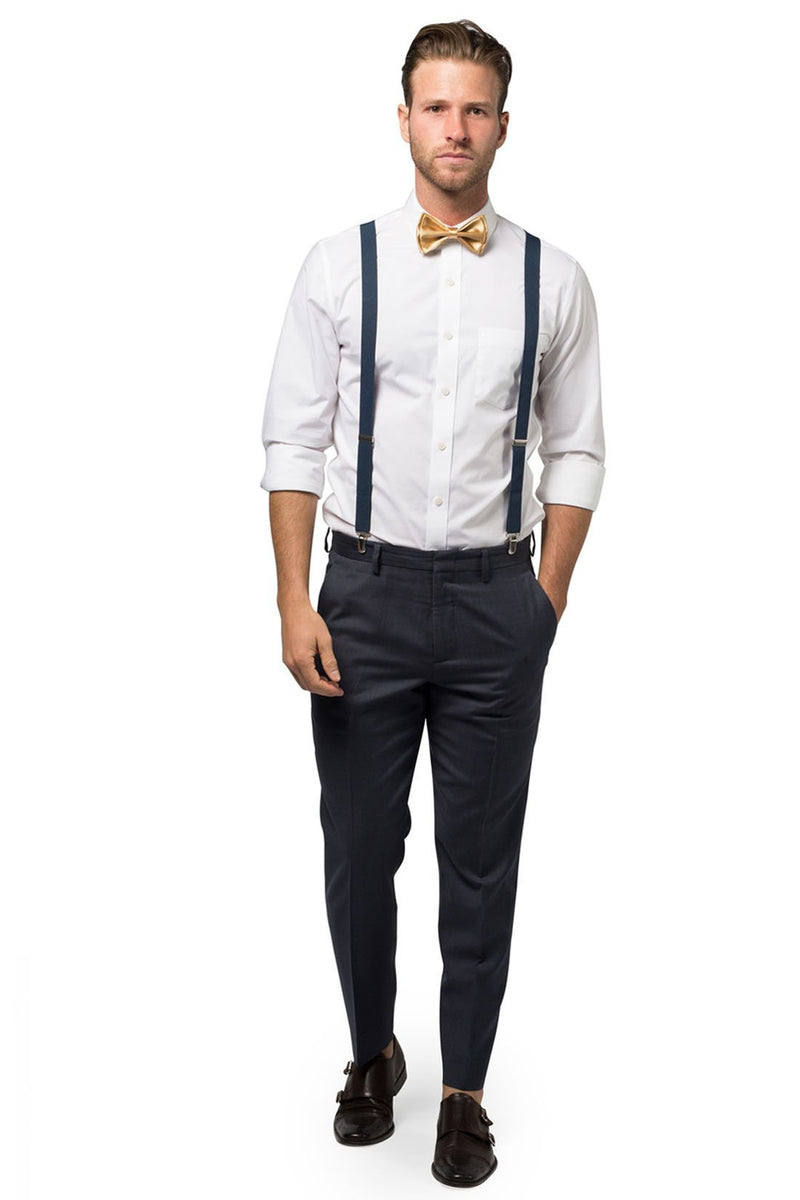 Navy Suspenders & Gold Bow Tie