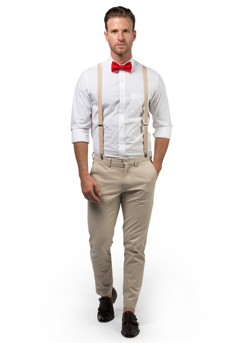 Beige Suspenders & Red Bow Tie