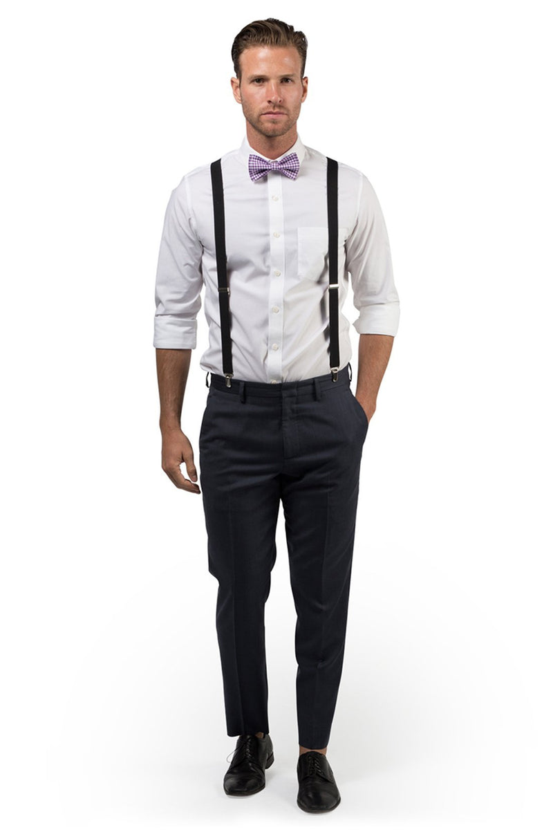 Black Suspenders & Gingham Purple Bow Tie