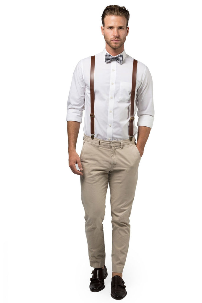 Brown Leather Suspenders & Gingham Black Bow Tie