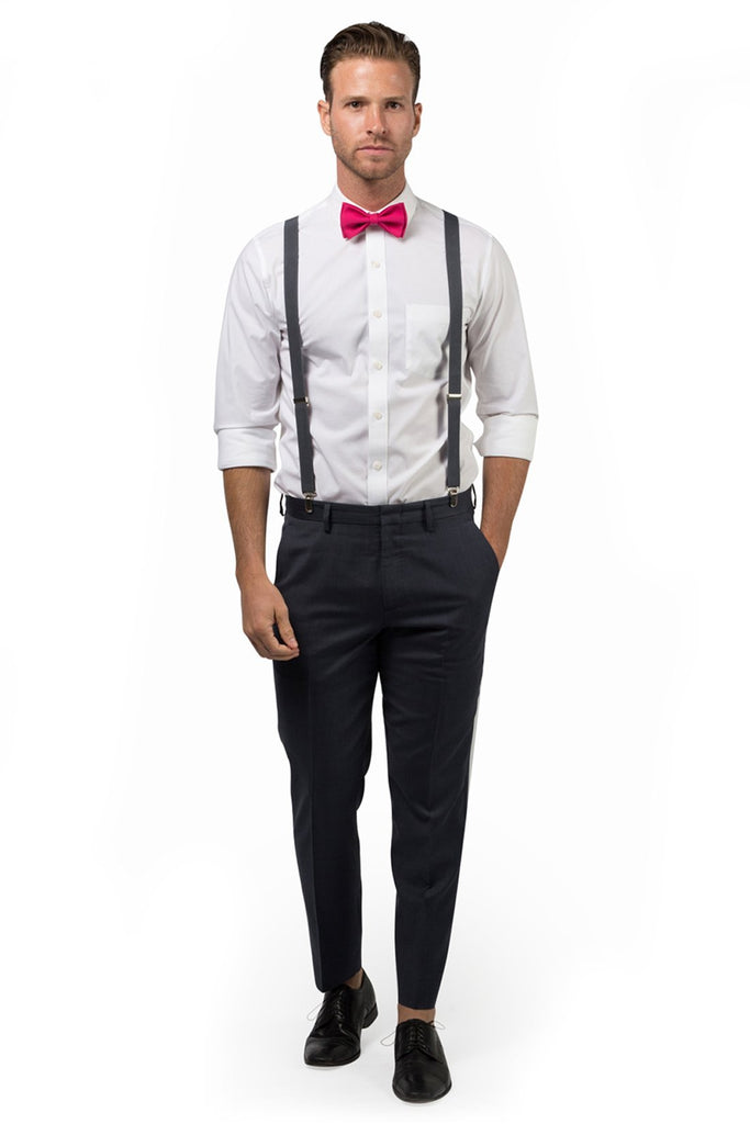 Charcoal Suspenders & Hot Pink Bow Tie