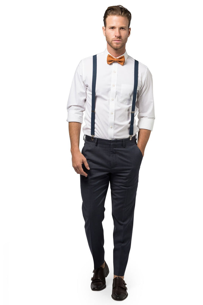 Navy Suspenders & Copper Bow Tie