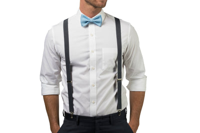Charcoal Suspenders & Baby Blue Bow Tie