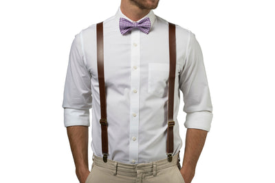 Brown Leather Suspenders & Gingham Purple Bow Tie
