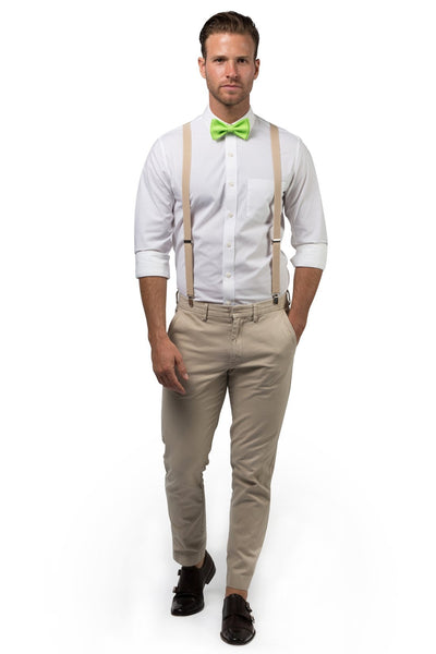 Beige Suspenders & Lime Bow Tie