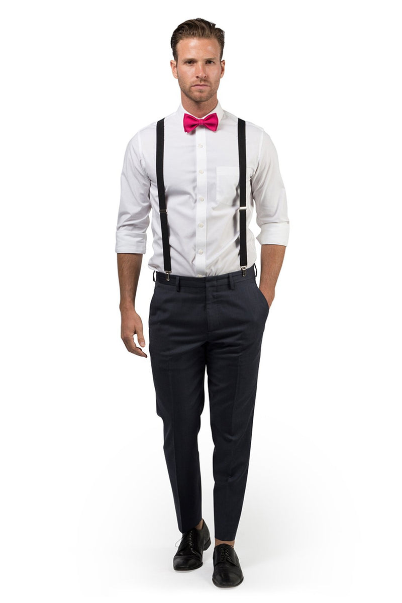 Black Suspenders & Hot Pink Bow Tie
