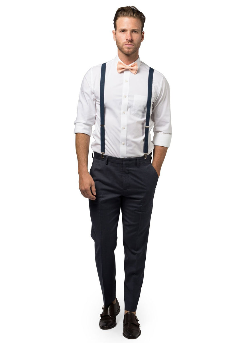 Navy Suspenders & Peach Bow Tie