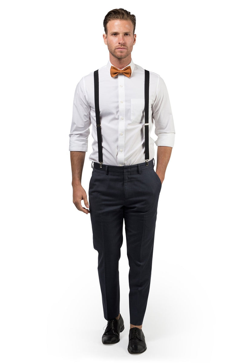 Black Suspenders & Copper Bow Tie