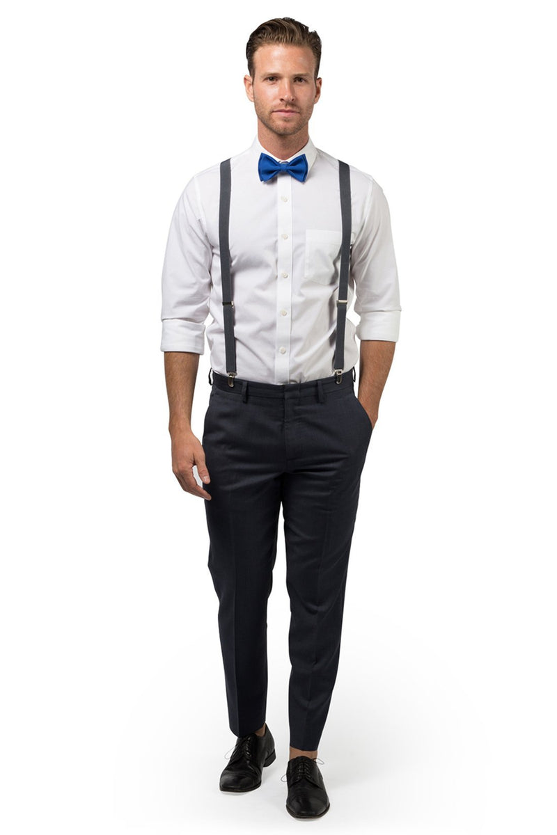 Charcoal Suspenders & Royal Blue Bow Tie