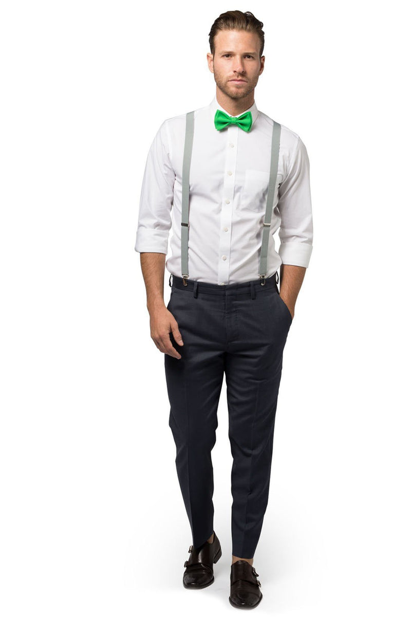 Light Gray Suspenders & Green Bow Tie