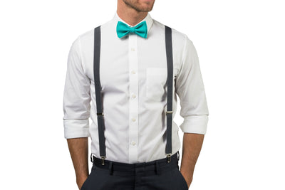 Charcoal Suspenders & Jade Bow Tie