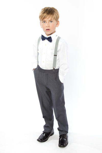 Light Grey Suspenders & Navy Bow Tie for Kids