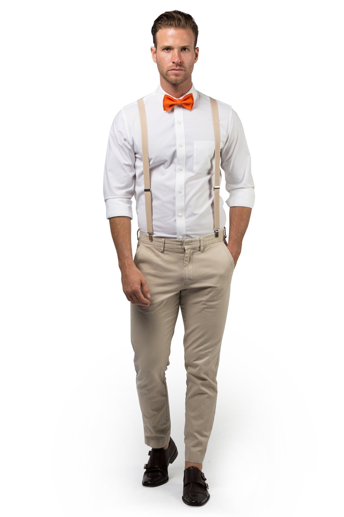Beige Suspenders & Orange Bow Tie