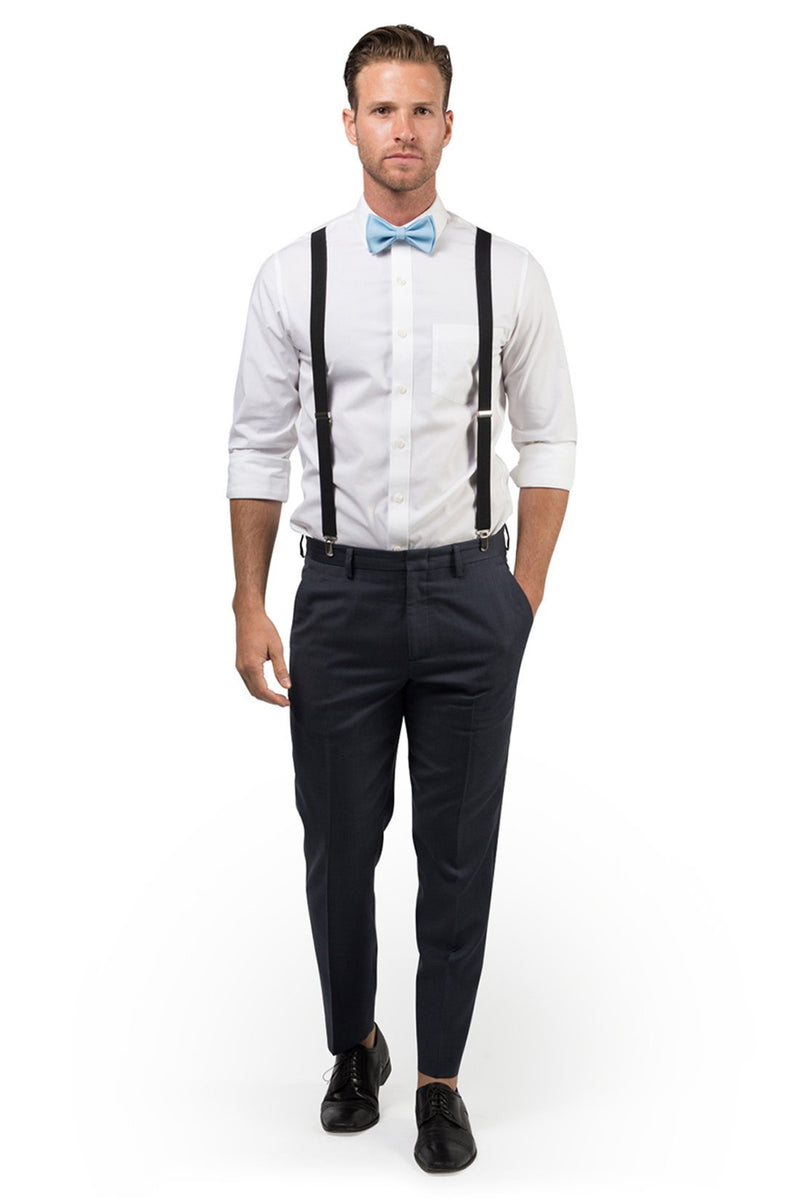 Black Suspenders & Baby Blue Bow Tie
