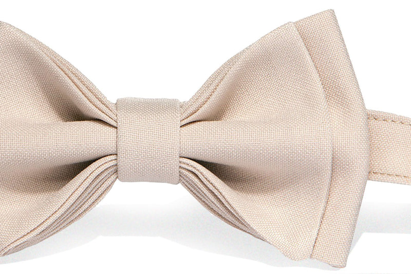 Brown Leather Suspenders & Cream Bow Tie