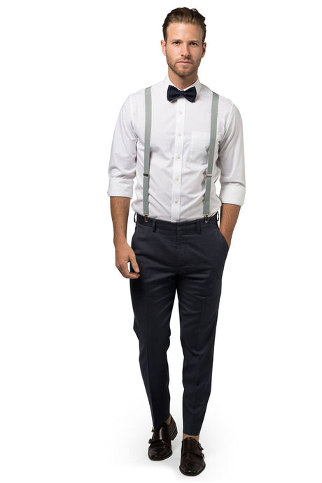Light Gray Suspenders & Navy Bow Tie