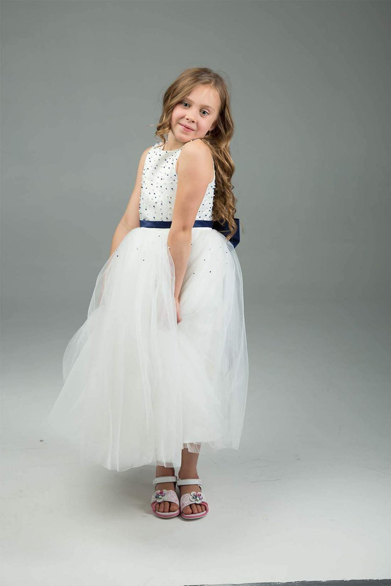 White & Navy Flower Girl Dress