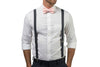 Charcoal Grey Suspenders & Light Pink Bow Tie