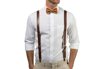 Brown Leather Suspenders & Copper Bow Tie