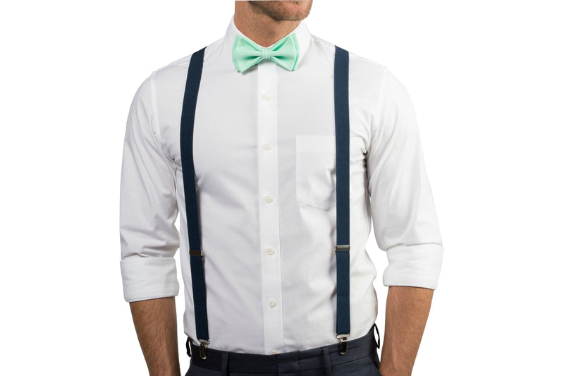 Navy Suspenders & Mint Bow Tie