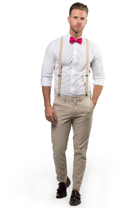 Beige Suspenders & Hot Pink Bow Tie
