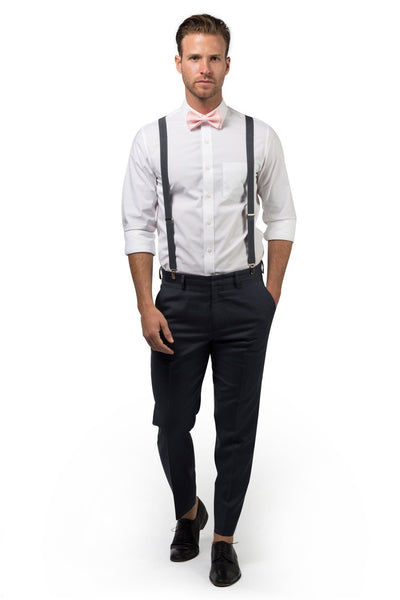 Charcoal Suspenders & Blush Bow Tie