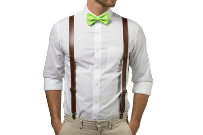 Brown Leather Suspenders & Lime Bow Tie